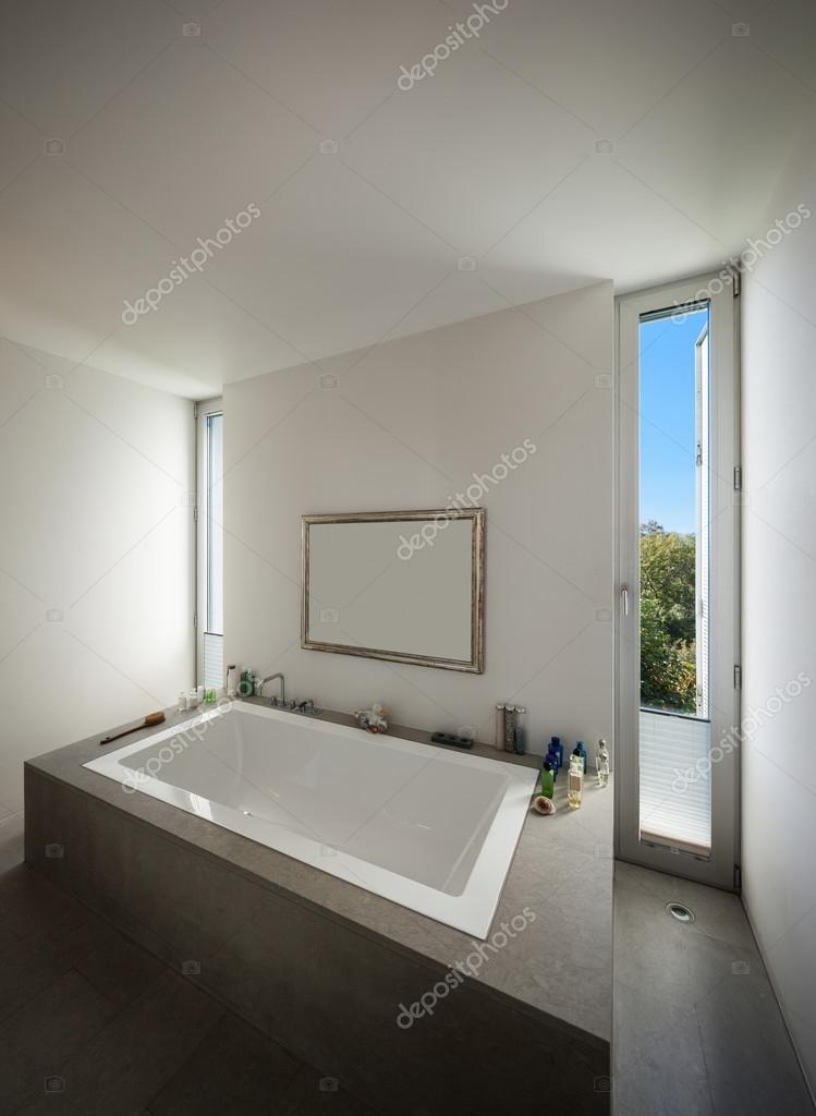 Interior bathroom, modern bathtub — Stock Photo © Zveiger #99500750