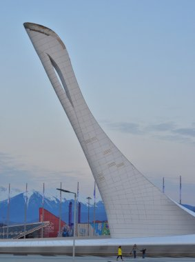Olympic Torch in Olympic park and Olympic stadium Fisht in Sochi, Russia