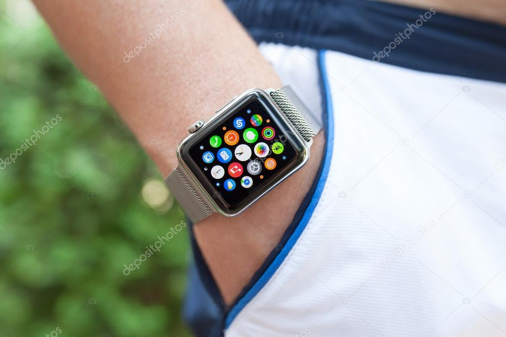 Athlete hand with Apple Watch and app icon on screen