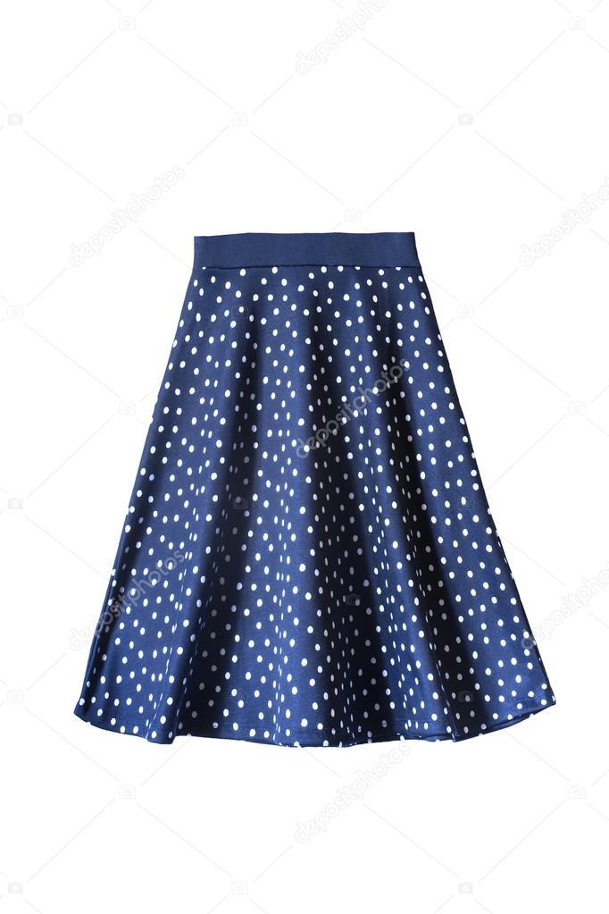 b3bc1d0de16a0d Blauw laaide knie lengte rok met polka dots geïsoleerd over Wit — Foto van  ...
