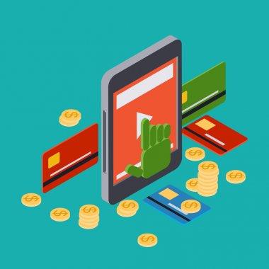 Online banking, mobile bank, money transfer vector concept