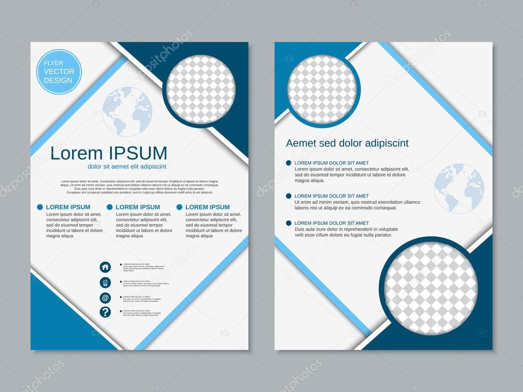 Professional Twosided Flyer Vector Template Stock Vector - Double sided brochure template