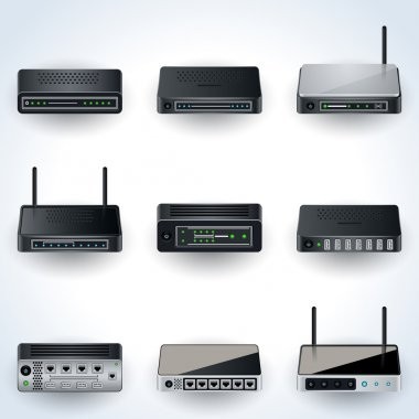 Network equipment vector icons