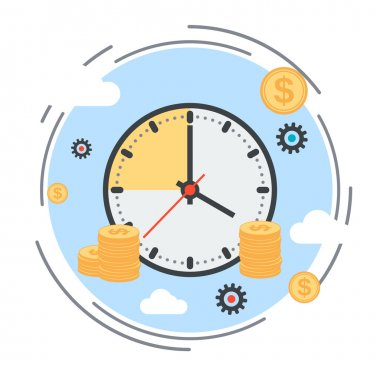 Time is money, time management, business planning flat design style vector concept