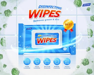 3d disinfecting wet wipes ad. Concept of protection against harmful microbes. Layout design with efficacy icons on clean ceramic tiles background. icon