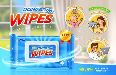 Disinfecting wet wipes ad in 3d illustration. Layout design with cute family symbols and blurry home scene background. Safe for everyday use concept. icon