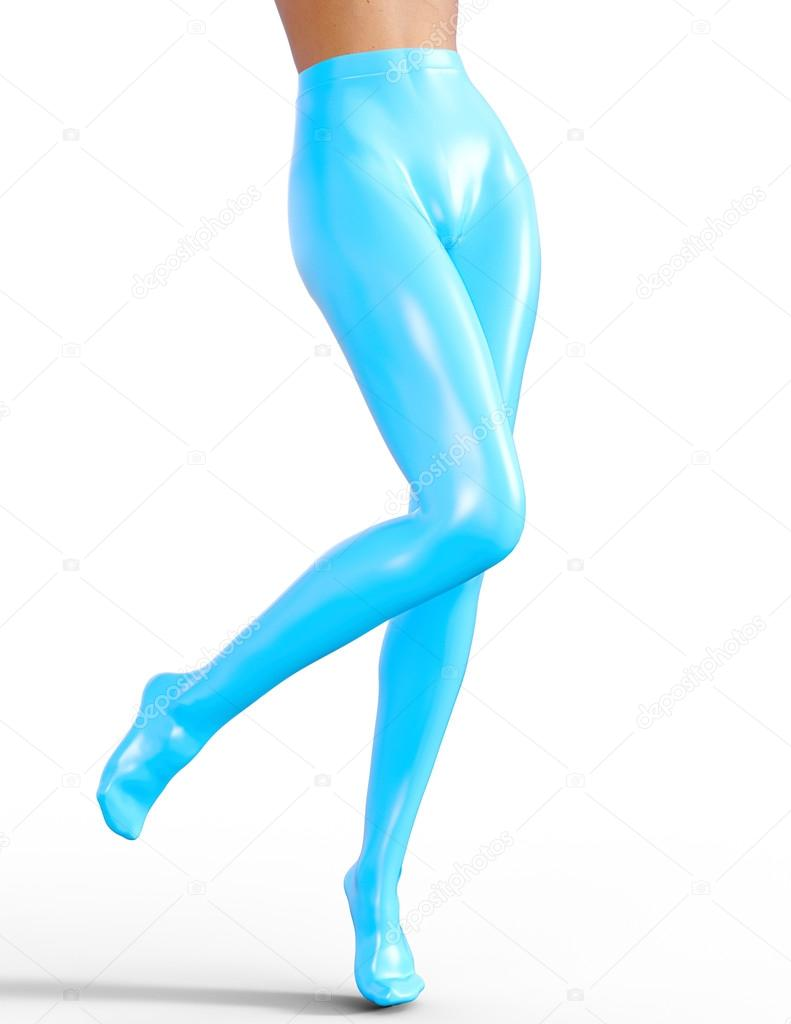 Sexy Slim Female Legs In Blue Latex Stockings Conceptual Fashion Art Shiny Pantyhose Seductive Candid Pose Photorealistic 3d Render Illustration