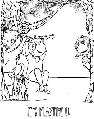 Multiethnic Group of Kids Playing Outdoors - Illustration for Children.