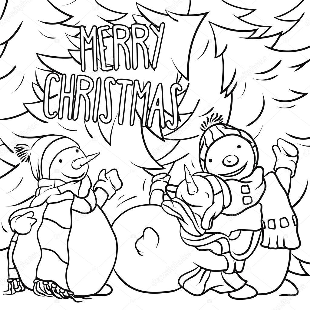 muñeco de nieve jugando en la nieve - ilustración de Navidad para ...