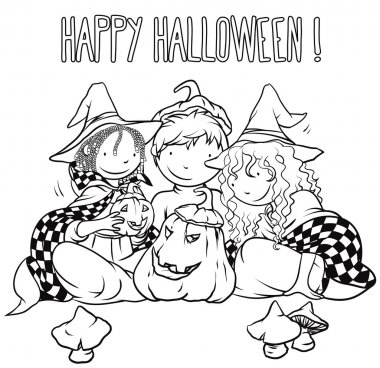 Kids Playing With Jack-O-Lantern - Halloween Illustration For Children.