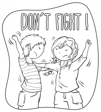 Two Kids Fighting (girl and boy) - Children Illustration For Coloring Book Design.