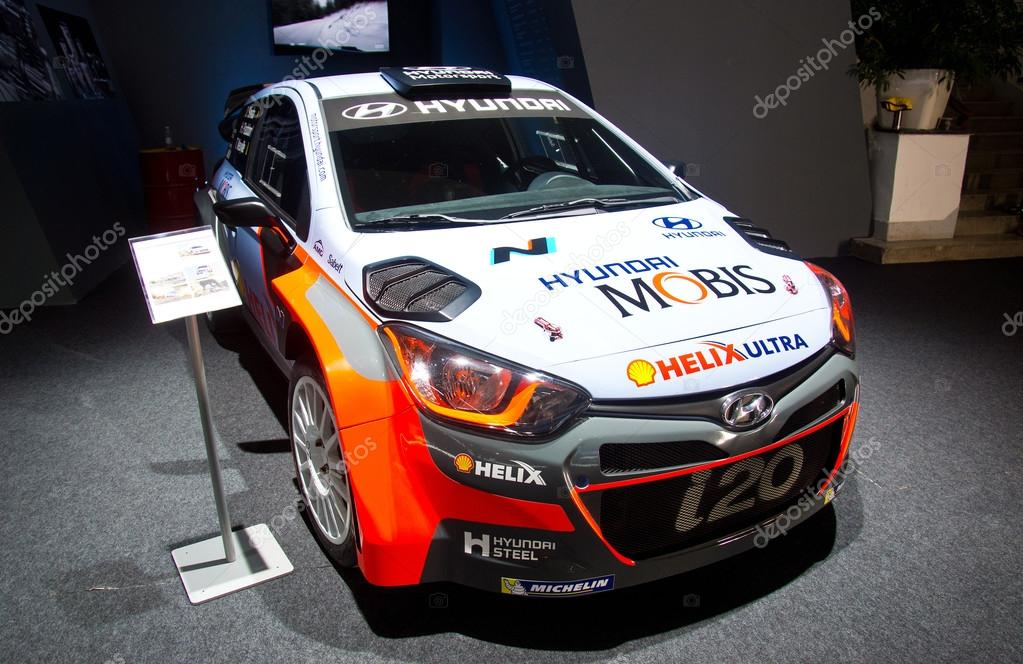 ZAGREB , CROATIA   07 April 2016   Hyundai I20 Sport Rally Version Car  Presented On Display In Zagreb Croatia U2014 Photo By Bertys30