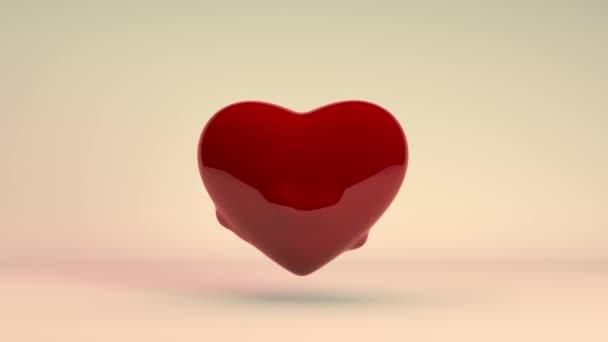 3D animace červeného srdce, symbol Valentýna. Srdce mi buší a vylétá z něj spousta malých srdcí. Slavnostní 3D animace.