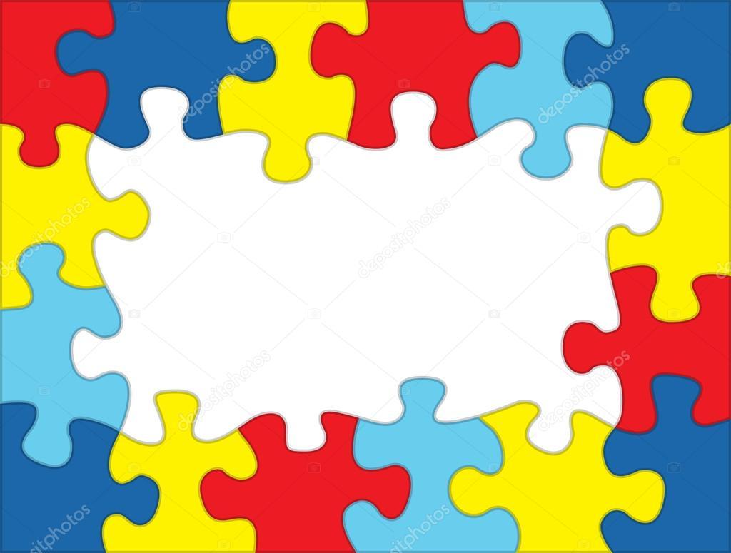 Autismus-farbige Puzzle Rahmen-Illustration — Stockvektor ...