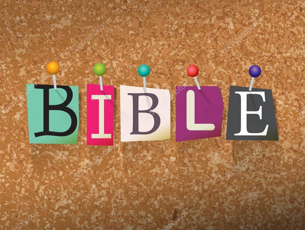 bible concept pinned letters illustration stock vector