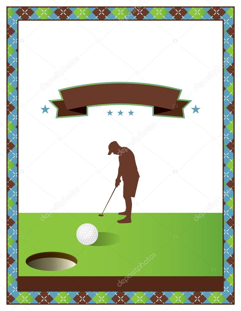 blank golf tournament flyer template stock vector enterlinedesign 110259354. Black Bedroom Furniture Sets. Home Design Ideas