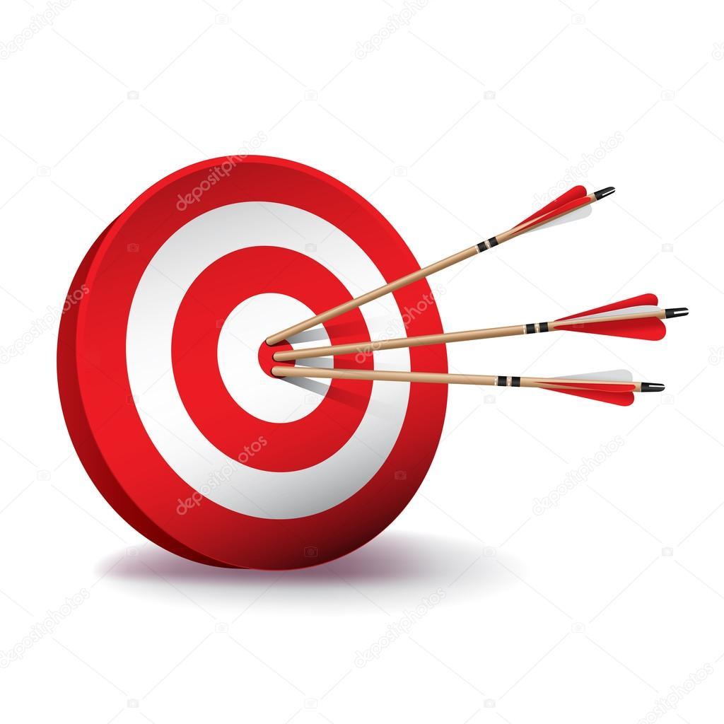 Rote Zielscheibe Mit Pfeilen Illustration Stockvektor
