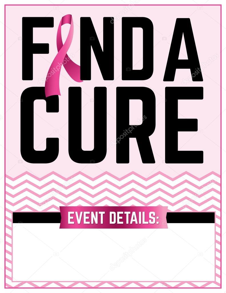 Encontrar una cura mama cáncer Flyer plantilla — Vector de stock ...