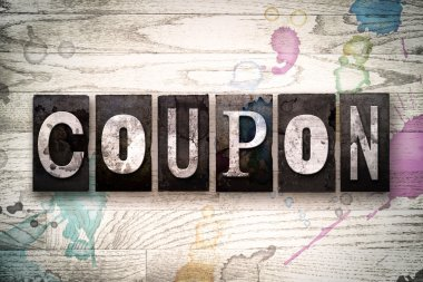 Coupon Concept Metal Letterpress Type