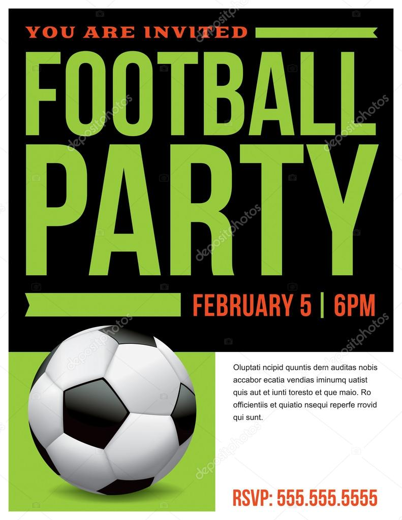 football soccer party flyer invitation illustration stock vector