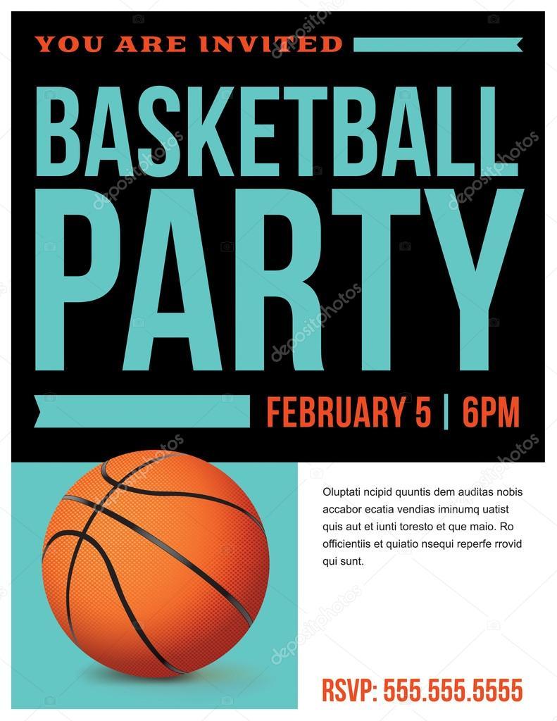 basketball party flyer invitation illustration stock vector