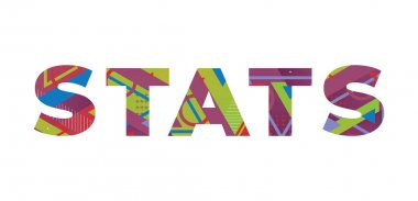 The word STATS concept written in colorful retro shapes and colors illustration.