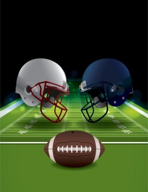 An illustration of American Football helmets clashing on a field with a ball. Vector EPS 10 available. EPS file contains transparencies and gradient mesh. EPS is layered. stock vector