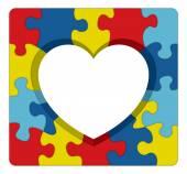 Fotografie Autism Awareness Puzzle Heart Illustration
