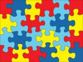 Fotografie Puzzle Pieces in Autism Awareness Colors Background Illustration
