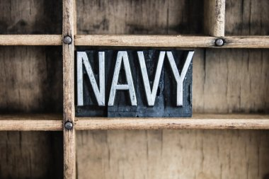 Navy Concept Metal Letterpress Word in Drawer