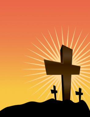 Silhouetted Crosses at Sunrise Illustration