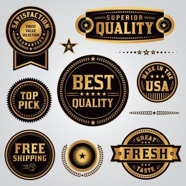 Quality Assurance Labels and Badges Set