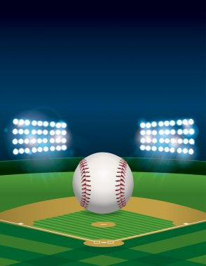 Baseball on Baseball Field Illustration
