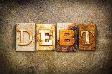 Debt Concept Letterpress Leather Theme