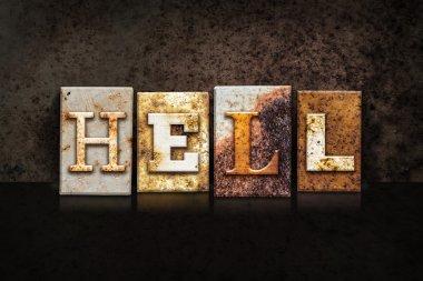 Hell Letterpress Concept on Dark Background