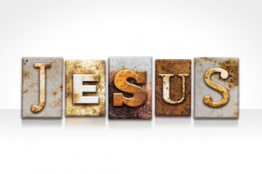Jesus Letterpress Concept Isolated on White