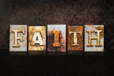 Faith Letterpress Concept on Dark Background