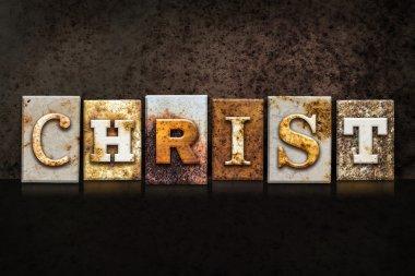 Christ Letterpress Concept on Dark Background
