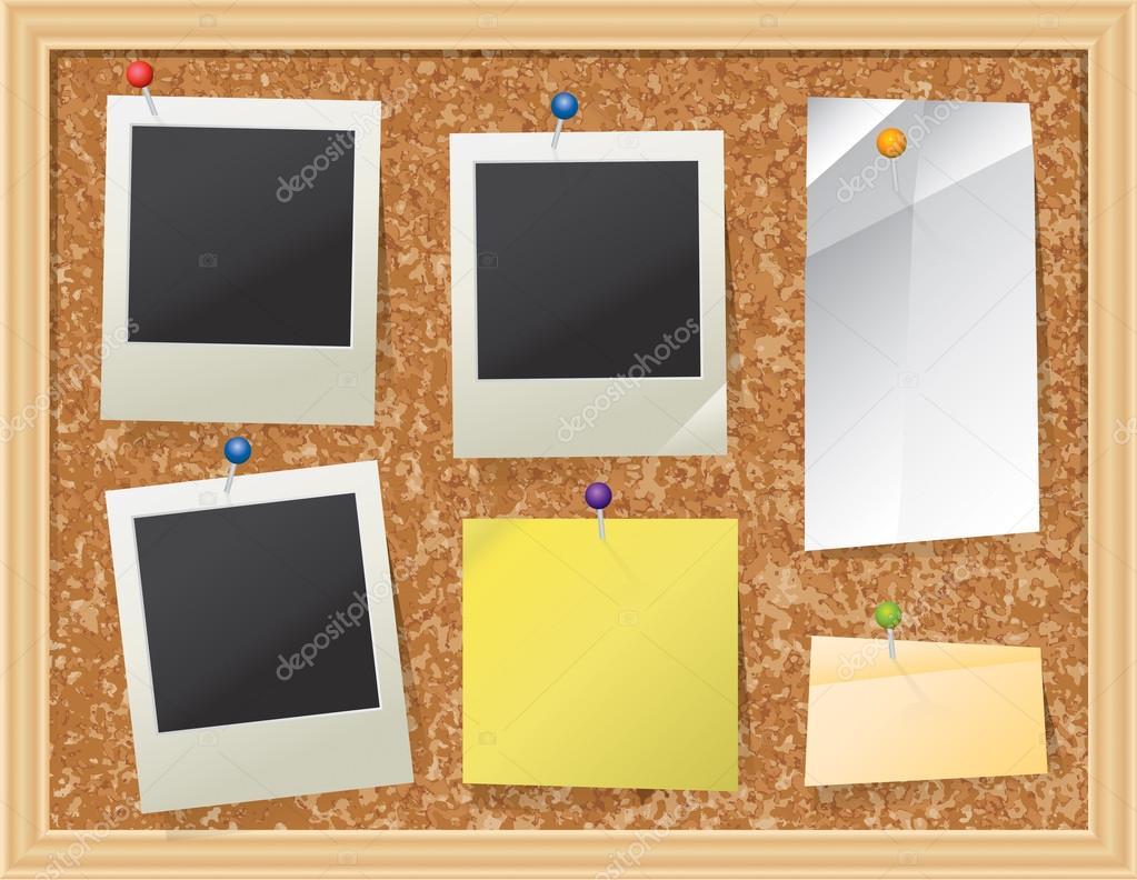 Tablero de corcho con papel anclado y fotos — Vector de stock ...