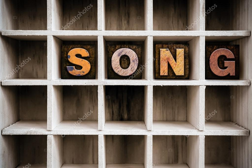 Song Concept Wooden Letterpress Type in Drawer — Stock Photo