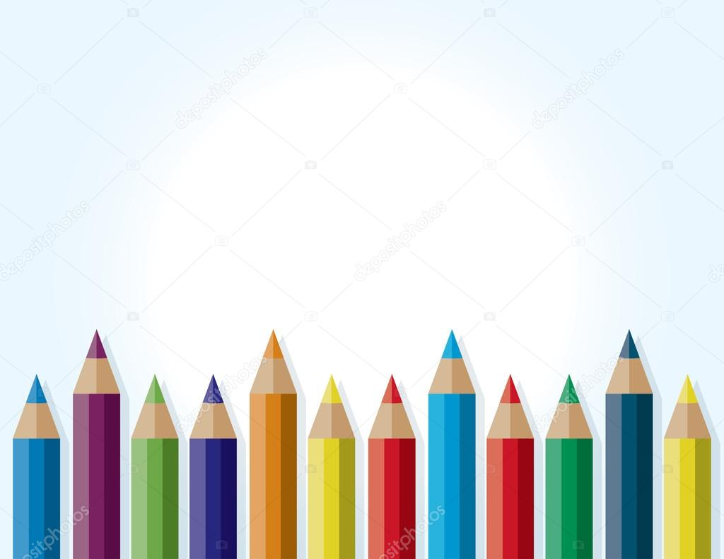 colorful border background of colored pencils — stock vector, Powerpoint templates