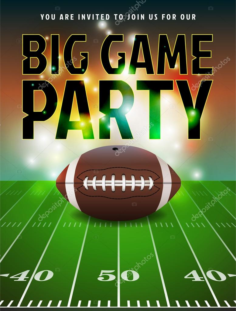 American Football Party Invitation Illustration Vector EPS 10 Available Text Has Been Converted To Outlines In The File