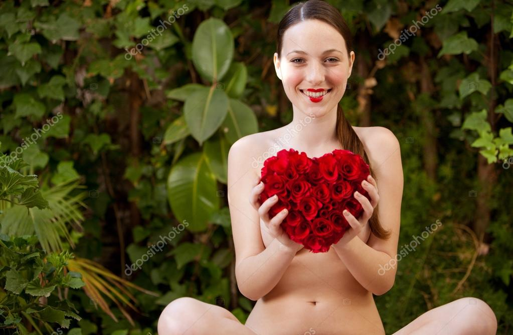 nude girls with red rose