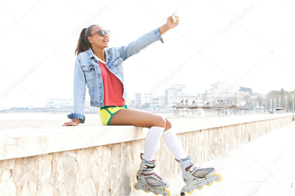 teenager girl take a selfie portrait of herself ストック写真