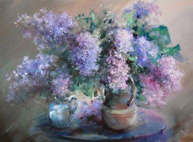 Still life with lilacs.