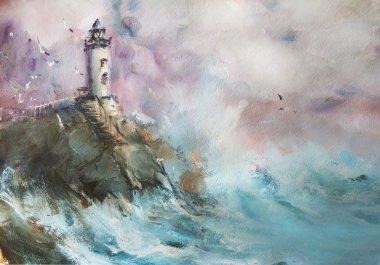 "Картина, постер, плакат, фотообои ""маяк. морской пейзаж. нефть . картина цветы"", артикул 108715930"
