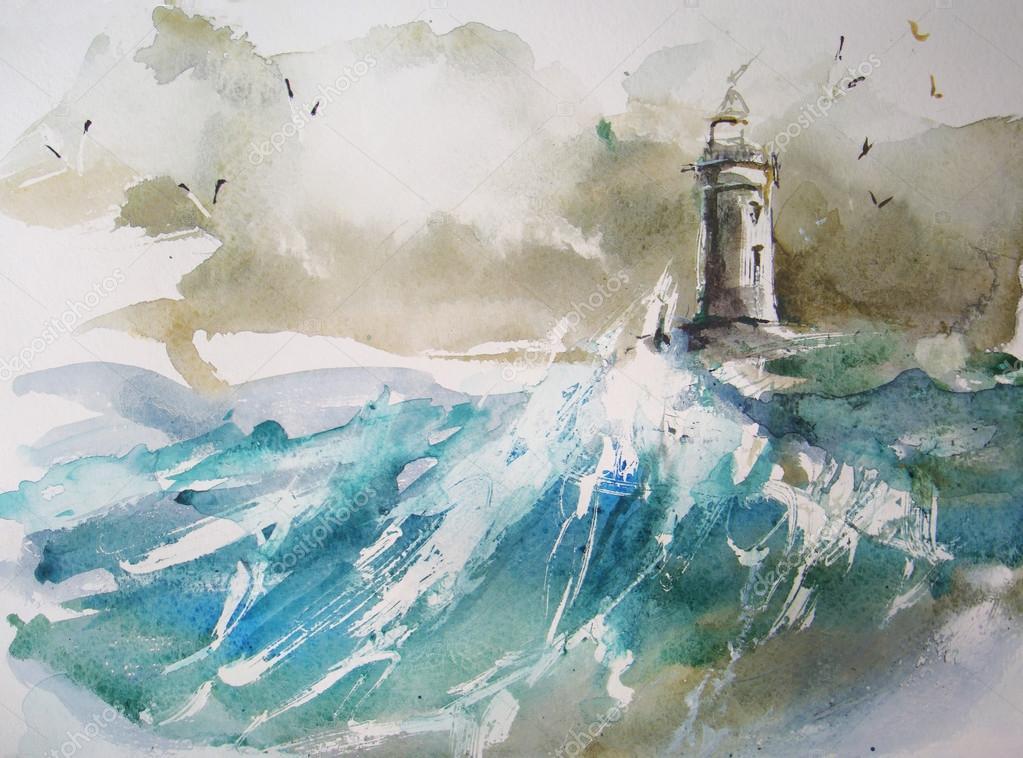 Lighthouse  Watercolor painting  — Stock Photo © yakimenko