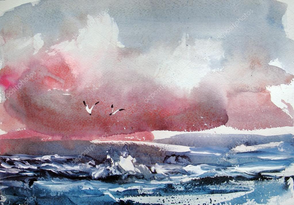 Gabbiani. Pittura ad acquerello — Foto Stock © yakimenko #112418364