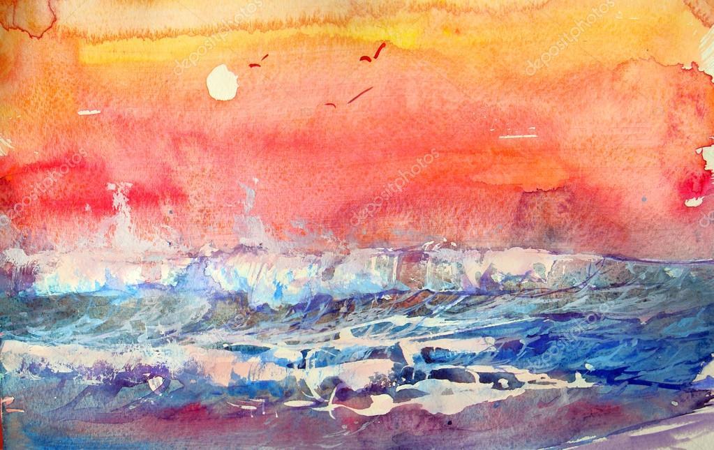 warme farben malerei, seelandschaft in warmen farben. aquarell malerei — stockfoto, Innenarchitektur