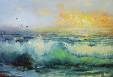 """Картина, постер, плакат, фотообои """"сёрф. морская живопись . маслом копия картина панно"""", артикул 99640584"""